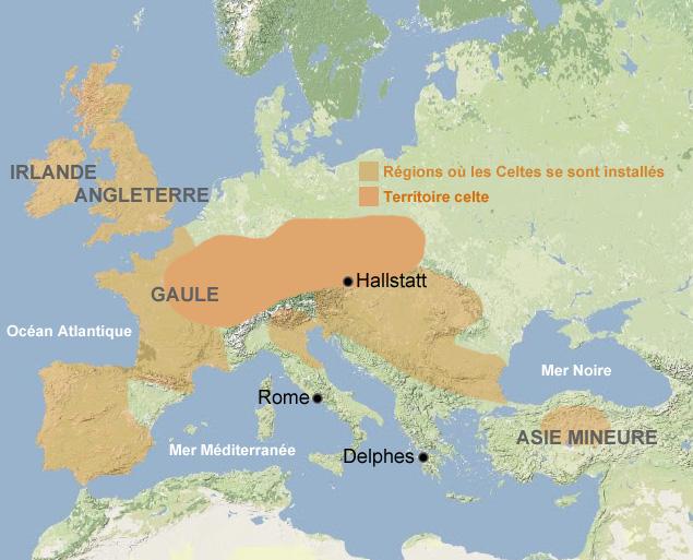 Carte Celtes, Europe, antiquité