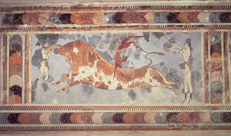 Cnossos voltigeant sur un taureau, grèce antique