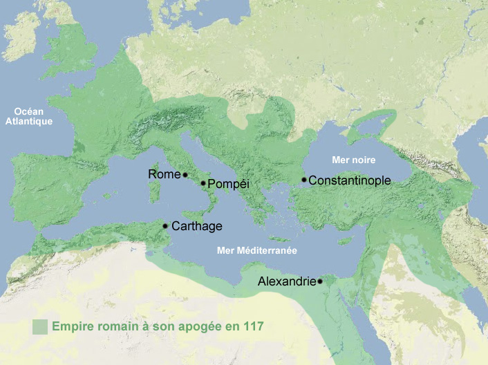Carte apogée Empire romain, Rome antiquité