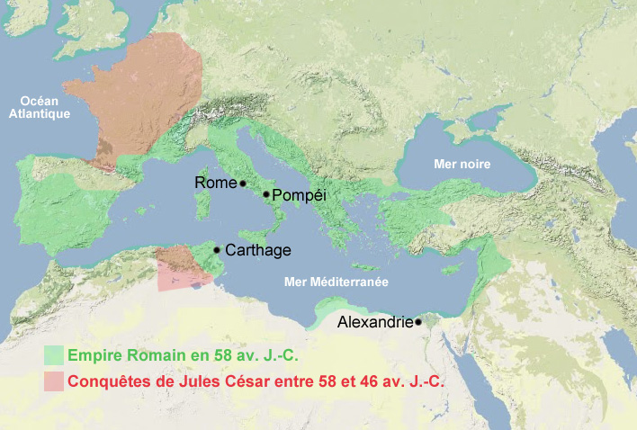 Carte Empire romain, Jules César, Rome antiquité