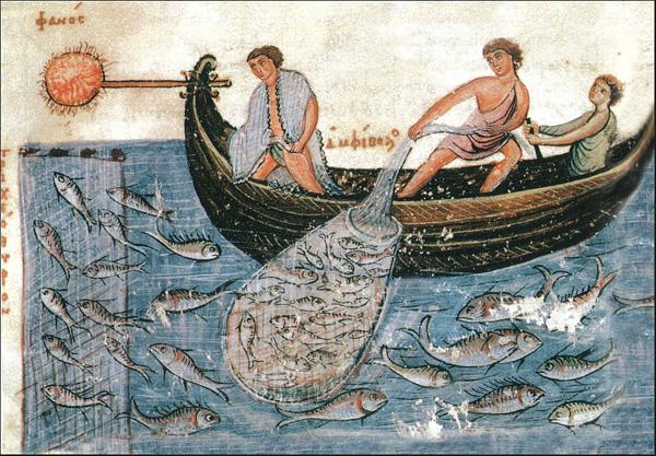Pêcheurs au lamparo, Empire bizantin