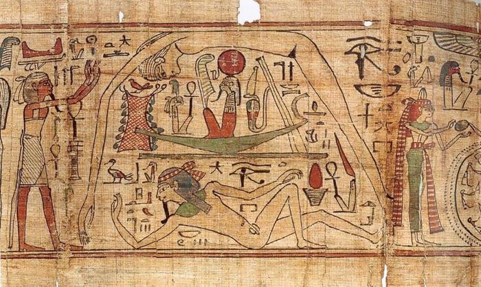 Geb et Nout sur Papyrus Ancien Empire