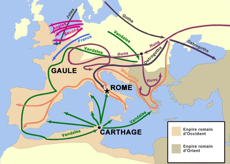 Invasions barbares, Europe, antiquité