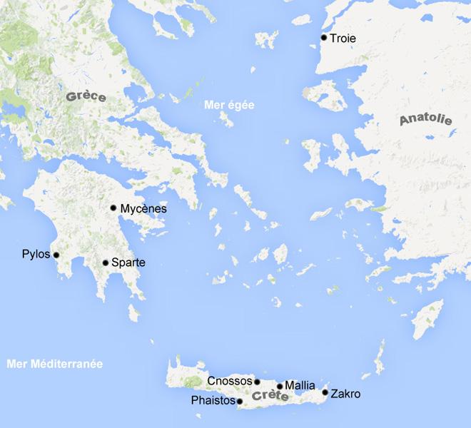 Carte Civilisation mycénienne, Grèce antique