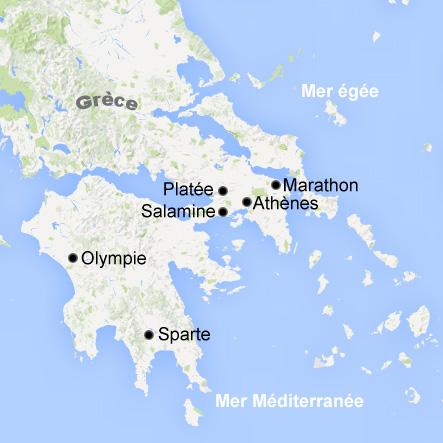 Carte période archaïque, Grèce antique