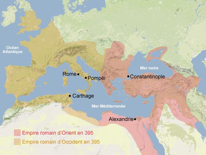 Carte chute de Rome pendant l'antiquité