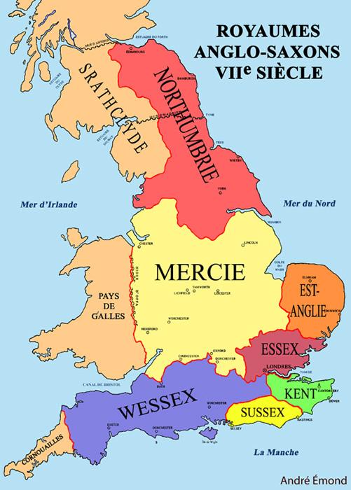 7 royaumes Anglo-Saxons, 600 après J.-C. en Angleterre