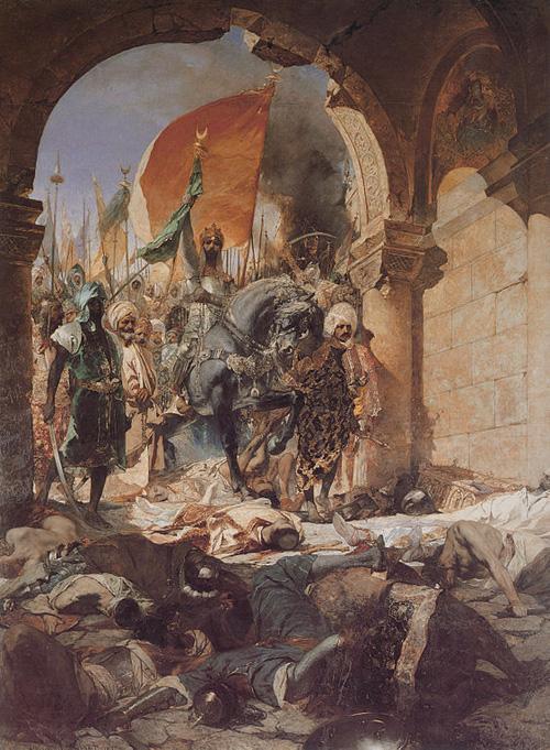 Entrée du sultan Mehmet II à Constantinople, Empire bizantin