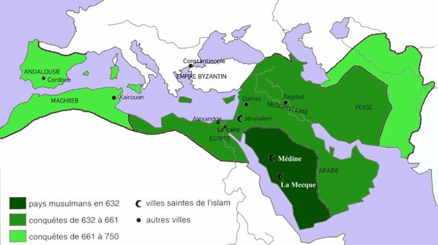 Carte expansion musulmane, islam, Moyen-âge